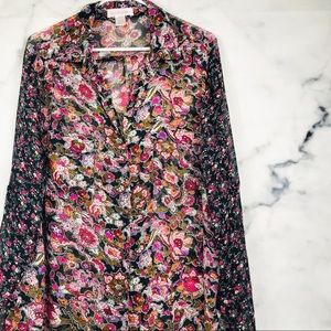 Band of Gypsies Floral Sheer Button Up
